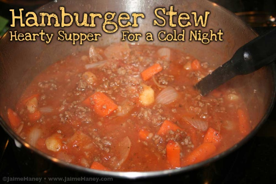 Hamburger Stew cooking on the stove