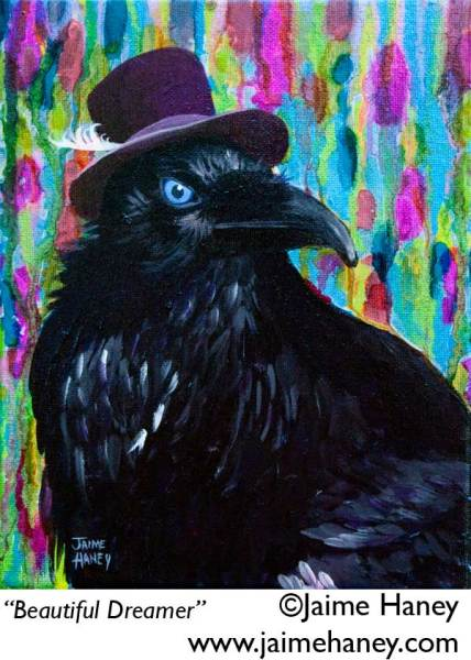 raven wearing a purple hat painting