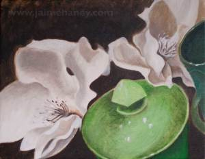 oil painting of creamy white magnolias with a green sugar bowl
