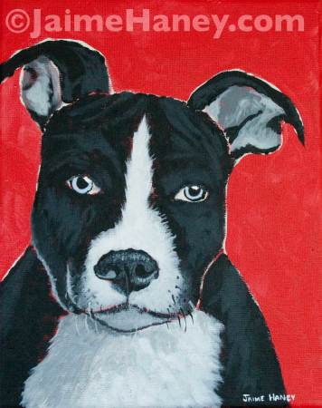 pit bull puppy painting with red background