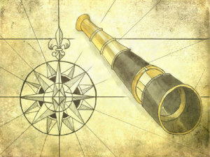 painting and drawing of a monocular and old fashioned compass