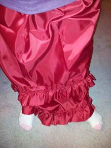 ruffled skirt I made from cheap satiny fabric you find around Halloween.