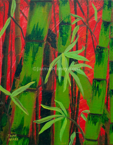 Painting of bamboo with red background