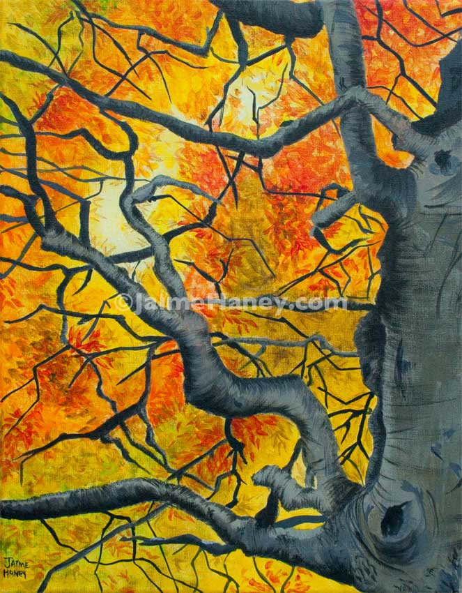 Tangled tree original acrylic painting now for sale here