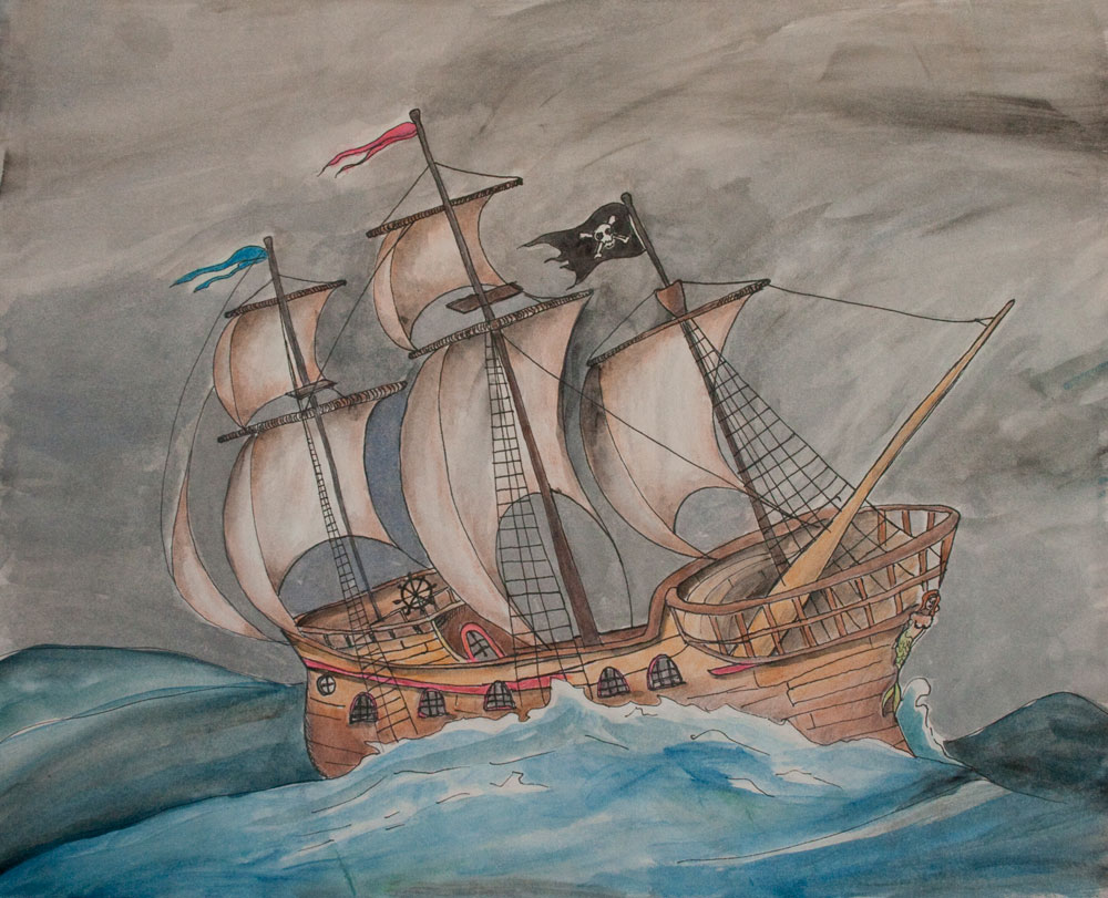 Ghost Pirate Wooden Ship Painting Matted Print