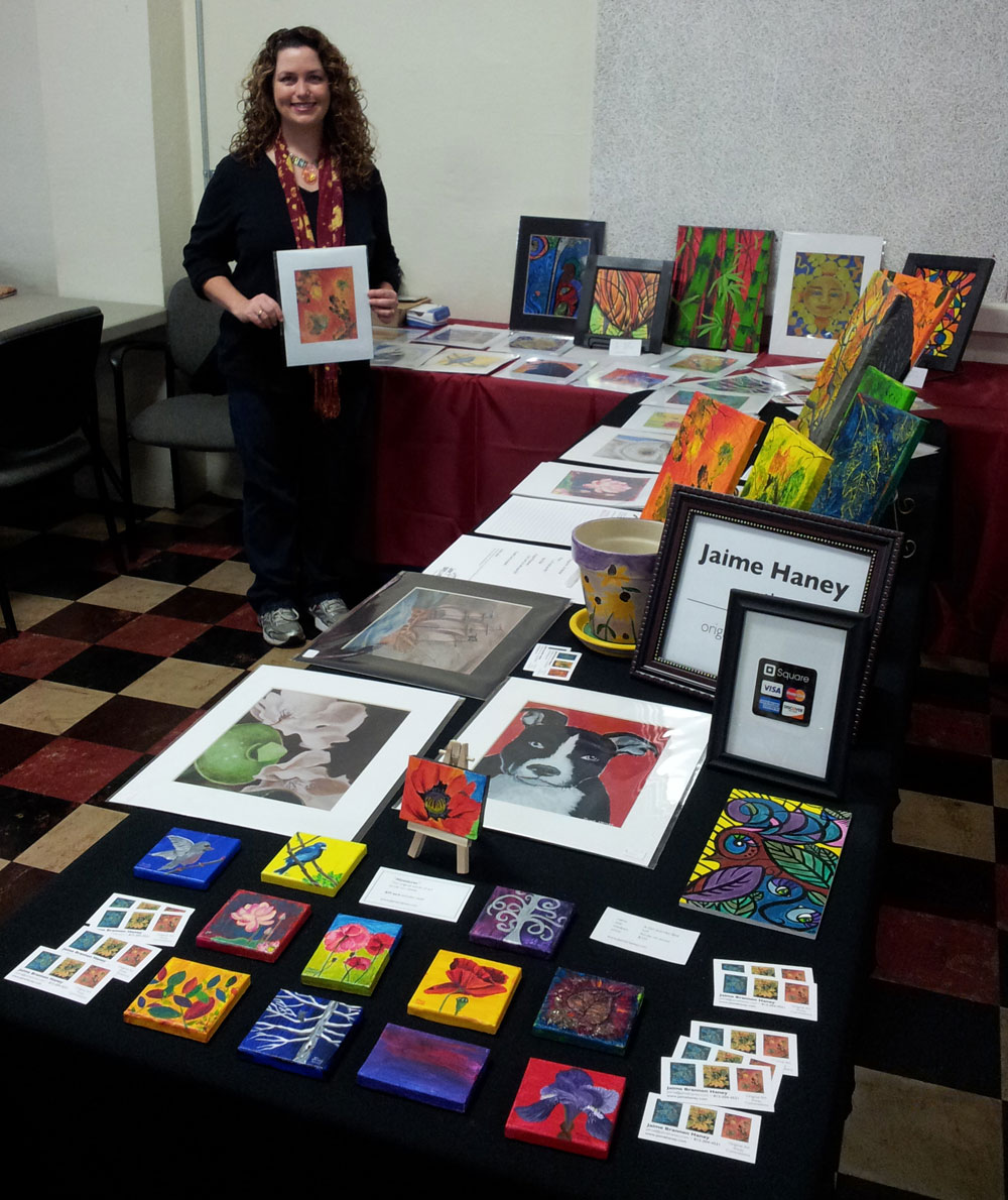 Jaime with her Artwork at Christmas In New Harmony Art/Crafts Show