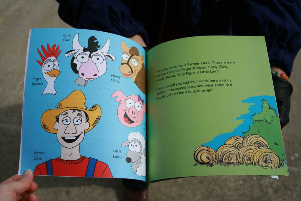 A Tale of Two Lambs first spread - The first part of the story introduces Farmer Dave and his farm animals