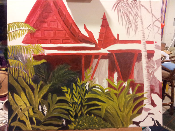 "work in progress of painting ""Tropical Getaway"" 2"