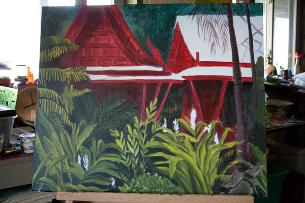"work in progress of painting ""Tropical Getaway"" in my dark studio"