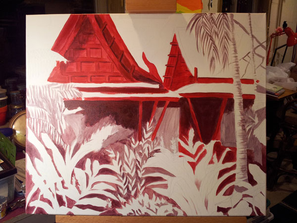 Tropical getaway underpainting jaime haney fine art for Tropical getaways in december