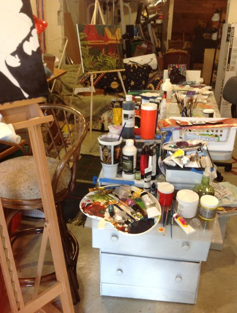 my current painting area in my art studio