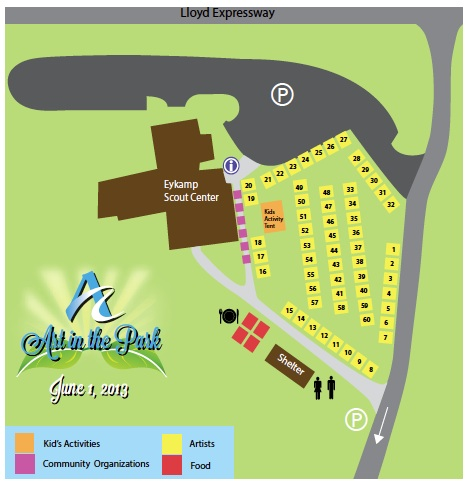 map of Art in the Park 2013