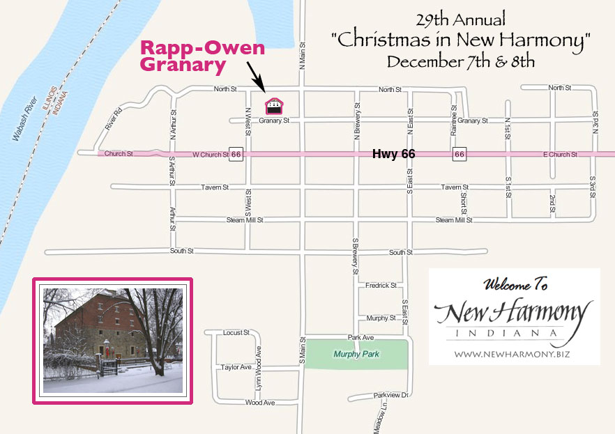 Map of New Harmony to Granary for Christmas show