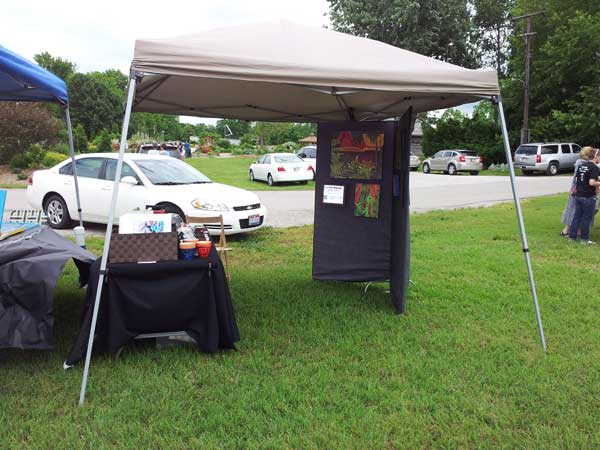 My booth at Art in the Park inside view