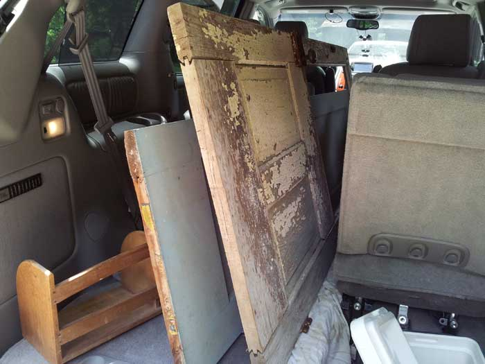 van full of found old doors