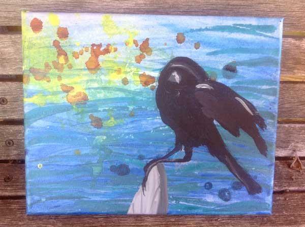 Crow added to painting