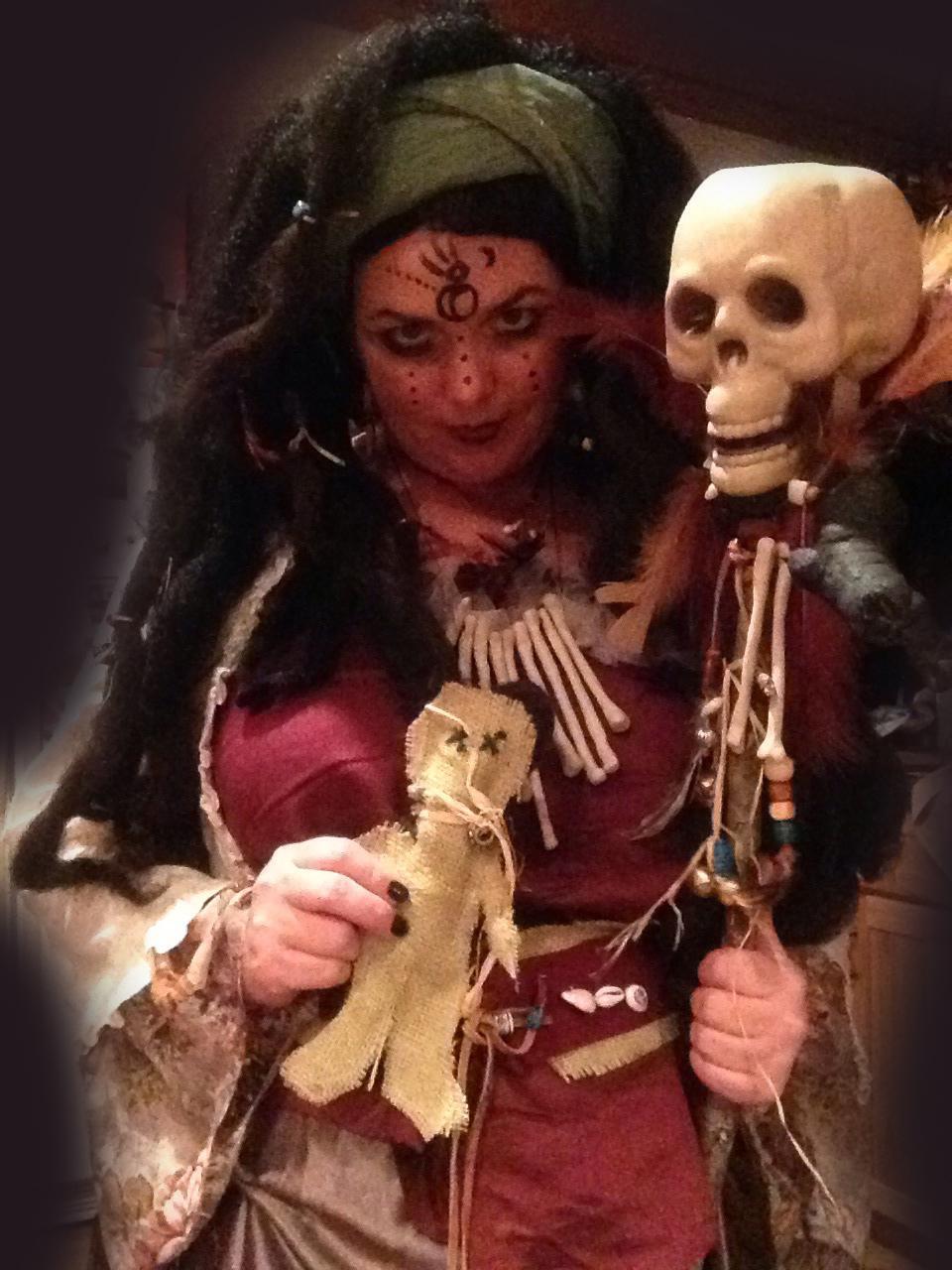 Voodoo Queen Halloween Costume Holding Skull Spirit Stick