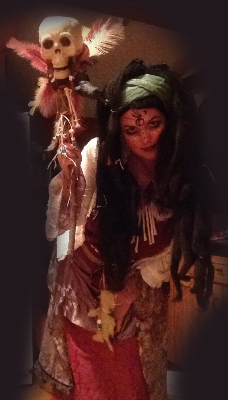 Voodoo Queen with a skull spirit stick - Jaime Haney Fine Art Voodoo Queen Costume
