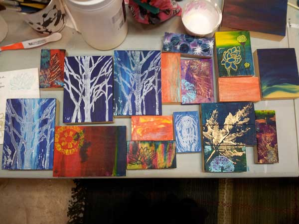 picture of my art blocks, some finished some a work in progress