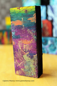 Colorful art block with real leaf stamped  in design