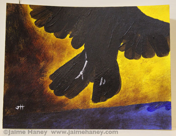 painting of crow flying away from the darkness and to the light which represents dreams