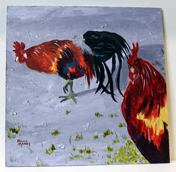 """2nd painting of the 30 in 30 named """"New Harmony Roosters"""""""