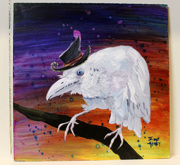 """""""Old Timer"""" a whimsical white raven wearing a hat painting"""
