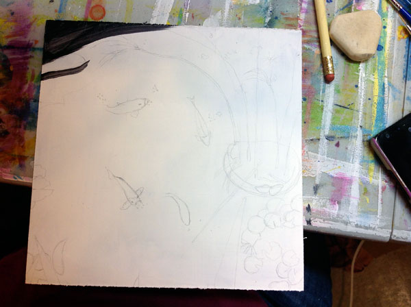 sketch for painting of pond and koi fish