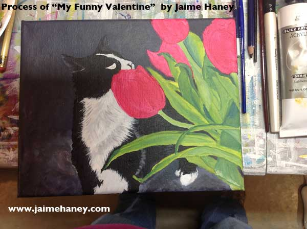 phase four - painting pink tulips