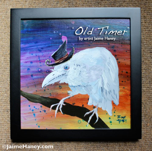 framed painting of white raven / crow wearing a whimsical hat