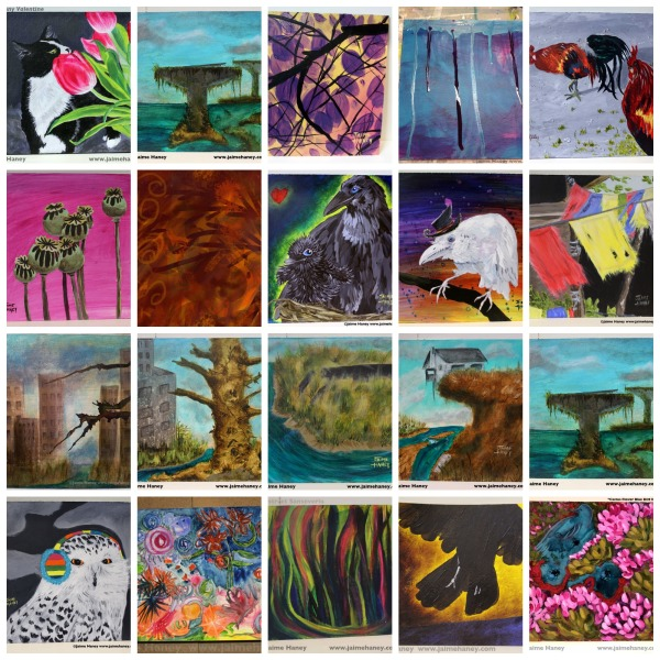 collage of 20 paintings created in the month of January (2014) by artist Jaime Haney