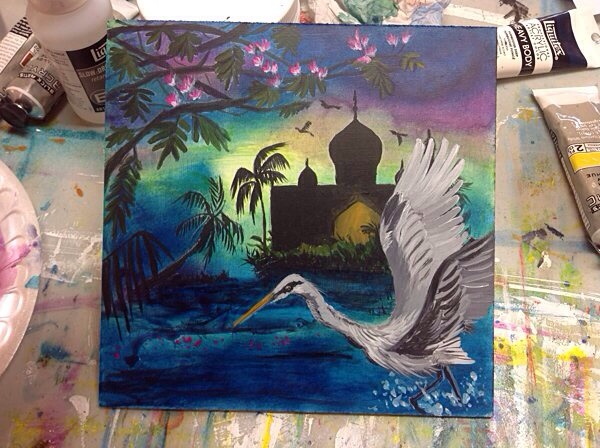 painting of a far away land with a flying crane and magical palace