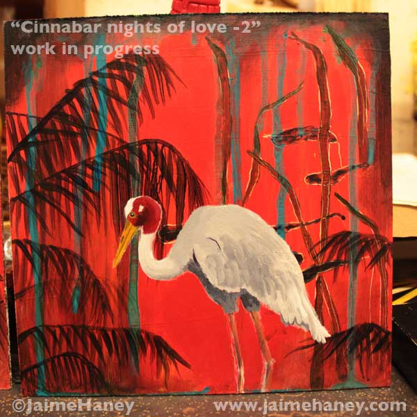 Sarus Crane in a red abstract tropical background work in progress