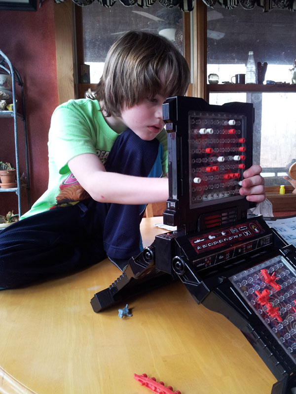 Asher setting up Battleship
