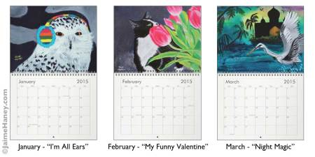 January, February & March paintings for 2015 calendar