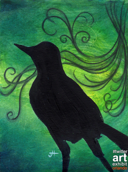 crow dancing with swirls art painting