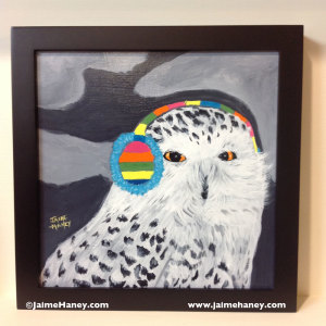 owl wearing earmuffs painting