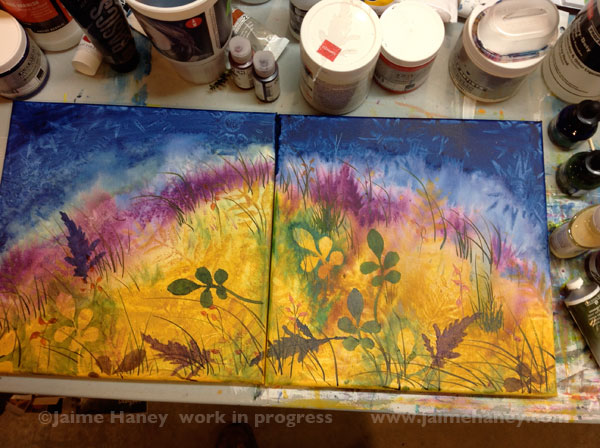 first layers of handmade stencils for Abundant Blessings painting