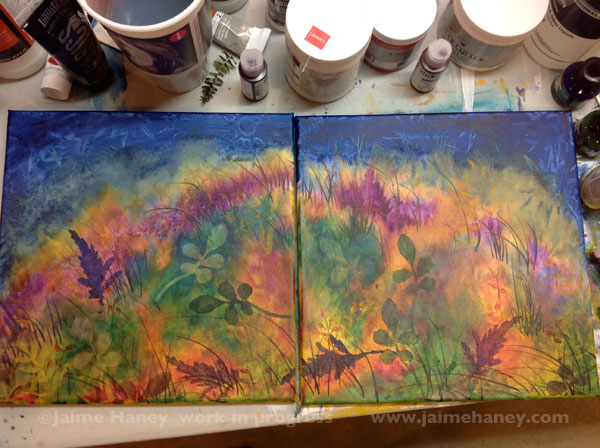 building up layers with handmade stencils for Abundant Blessings painting