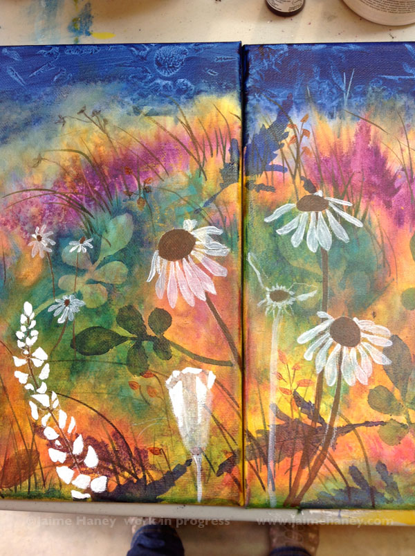 underpainting of flowers for Abundant Blessings painting