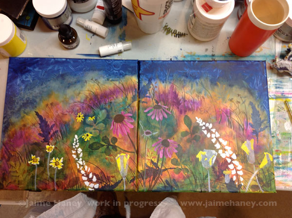 wildflowers painted on 2 canvases