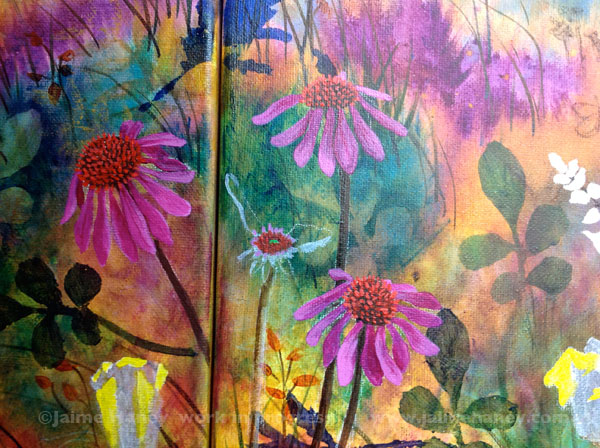 Close up of coneflowers from Abundant Blessings painting in progress