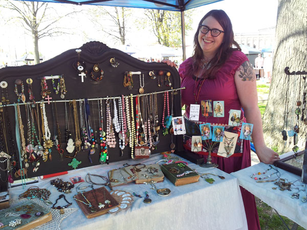 Jamie Bates and her Silent Salvation jewelry booth