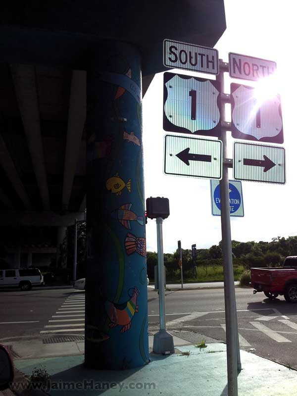 Hwy Sign and street art on pillars of bridge