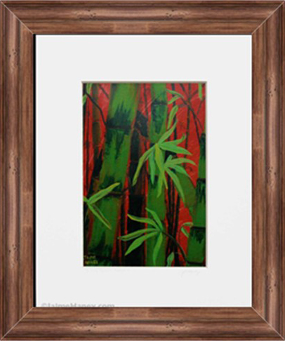 White matted print of Sultry Bamboo Forest shown with rich wood frame