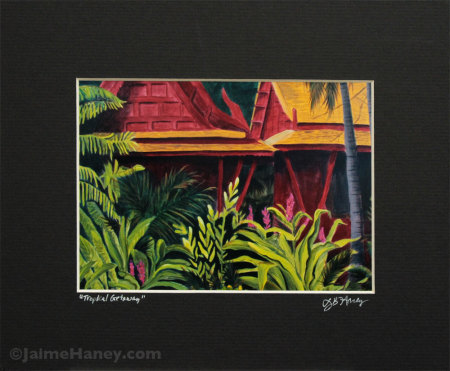 Tropical Getaway print ready for your frame, black mat shown