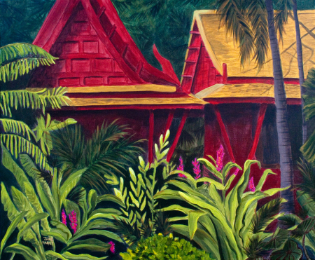 Tropical Getaway painting of lush jungle with red bungalows