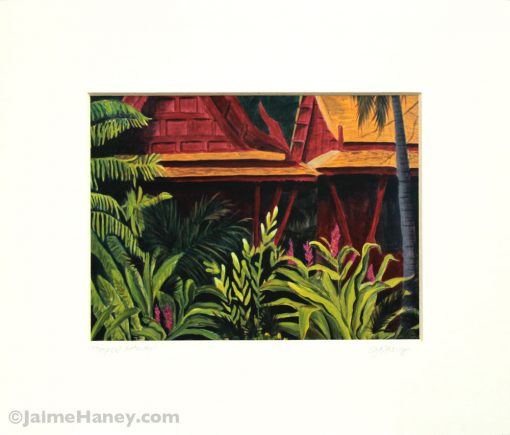 Tropical Getaway print ready for your frame, white mat shown