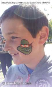 Ninja Turtle-ish cheek face paint