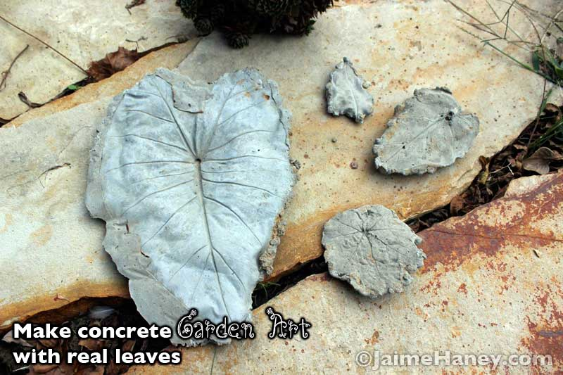 Making garden art leaves with concrete